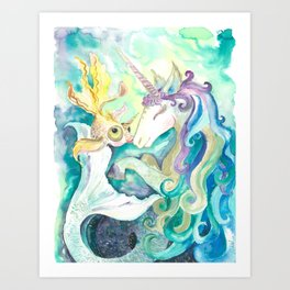 Kelpie unicorn and goldfish Art Print