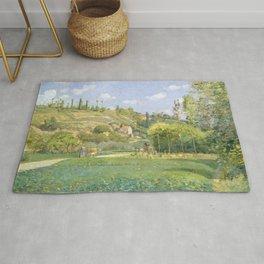 """Camille Pissarro """"A Cowherd at Valhermeil, Auvers-sur-Oise"""" Rug"""