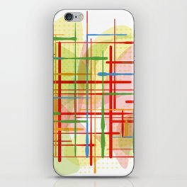 Abstract Lines Shapes Green and Yellow iPhone Skin