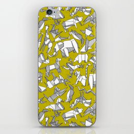 origami animal ditsy chartreuse iPhone Skin