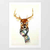 craftberrybush Art Prints featuring Deer buck with winter scarf - watercolor by craftberrybush
