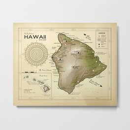 The Big Island of Hawaii [vintage inspired] Road map Metal Print