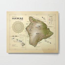 The Big Island of Hawaii [vintage inspired] Road map Metal Print