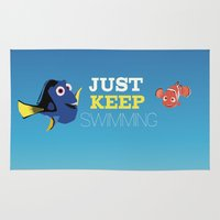 nemo Area & Throw Rugs featuring just keep swimming with nemo and dory by studiomarshallarts