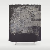 san francisco map Shower Curtains featuring San Francisco City Map by Luis Dilger