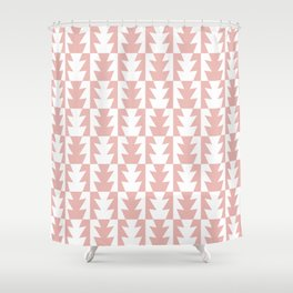 Art Deco Jagged Edge Pattern Dusty Rose Shower Curtain