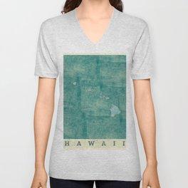 Hawaii State Map Blue Vintage Unisex V-Neck