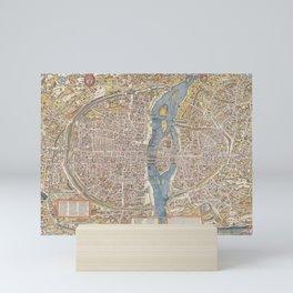 Color Map of Paris Circa 1550 Mini Art Print