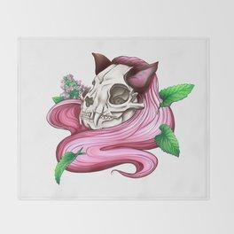 Neko skull girl: Catnip Throw Blanket