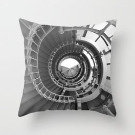 Gray's Harbor Lighthouse Stairwell Spiral Architecture Washington Nautical Coastal Black and White Throw Pillow