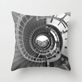 Gray's Harbor Lighthouse Stairwell Spiral Architecture Washington Nautical Coastal Black and White Throw Pillow