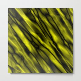 A bright cluster of yellow bodies on a dark background. Metal Print
