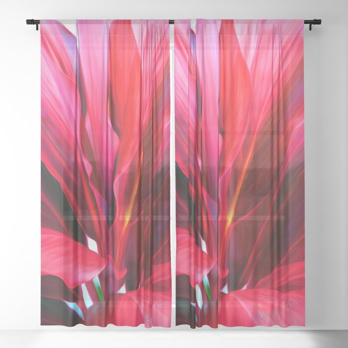 Red Ti Leaf Sheer Curtain
