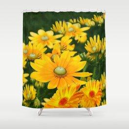 GOLDEN YELLOW  FLOWERS  GARDEN Shower Curtain