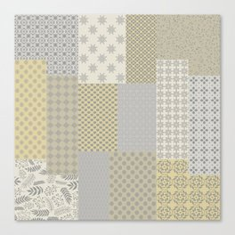 Modern Farmhouse Patchwork Quilt in Gray Marigold and Oatmeal Canvas Print