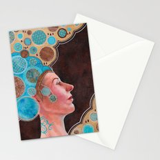 Queen in Gold and Teal Stationery Cards