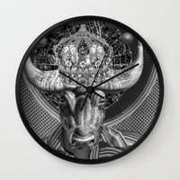 taurus Wall Clocks featuring TAURUS by Julia Lillard Art