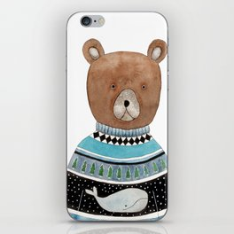 Bear in knitted sweater iPhone Skin