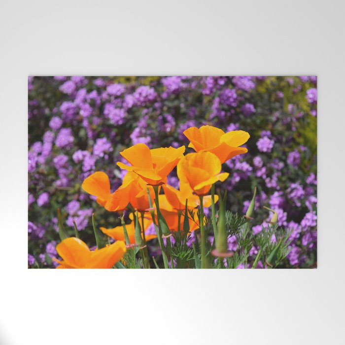 Poppies And Purple Lantana Welcome Mat