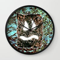 heavy metal Wall Clocks featuring Heavy Metal by cahill wessel