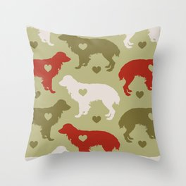 Valentine's dog surface pattern (green-red) Throw Pillow