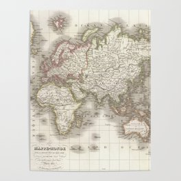 Vintage Map of The World (1832) Poster