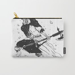 Skull knight in the snow - black and white - medieval grim reaper Carry-All Pouch
