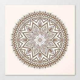 brown mandala with leaves Canvas Print
