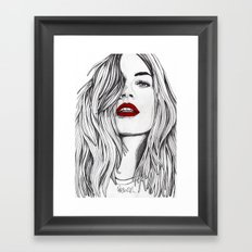 Girl with the Red Lips Framed Art Print
