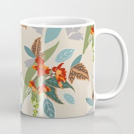 Bright Flowers with Turquoise and Green Leaves, Pattern Design, Tropical and Colourful Coffee Mug