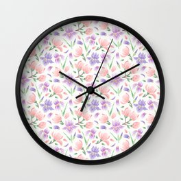 Magnolia and Iris Embroidery Style Wall Clock