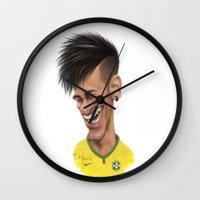 brazil Wall Clocks featuring Neymar - Brazil by Sant Toscanni
