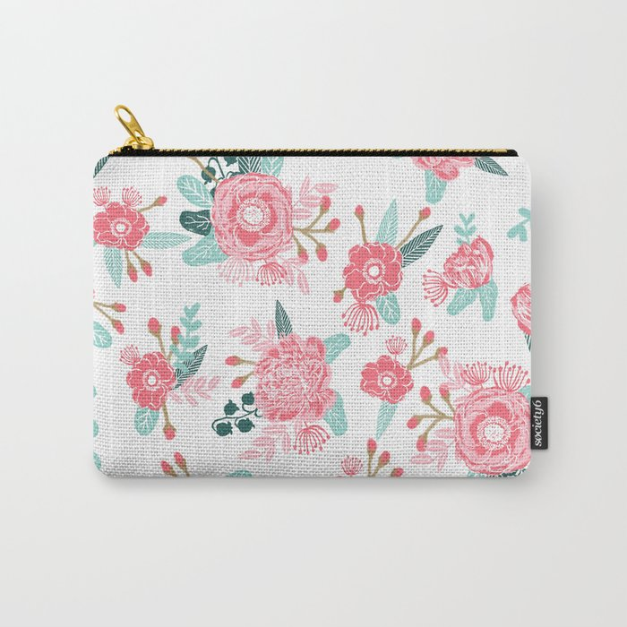 Peony florals basic girly trendy floral bouquet white fresh colors modern botanicals Carry-All Pouch