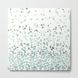 Floating Confetti - Cream Mint and Silver Metal Print