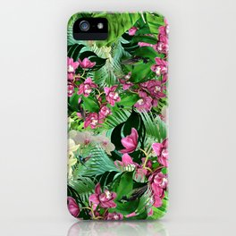 Pink orchids and hummingbirds iPhone Case