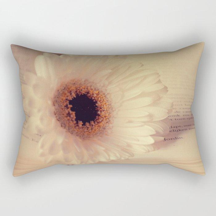 White Gerbera Daisy Rectangular Pillow