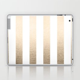 Simply Vertical Stripes in White Gold Sands Laptop & iPad Skin