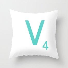 Blue Letter V Scrabble Initial Throw Pillow