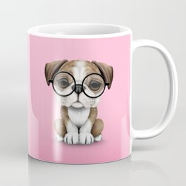 Cute English Bulldog Puppy Wearing Glasses on Pink Coffee Mug