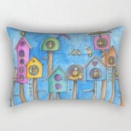 3 night bird houses Rectangular Pillow