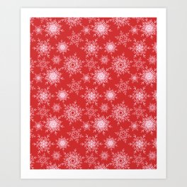 Christmas pattern with snowflakes on red. Art Print