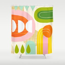 Rise and Shine - Retro Mod Abstract Design Shower Curtain