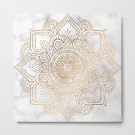 Marble Gold Mandala Design Metal Print