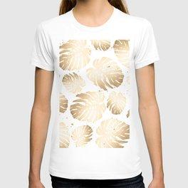Gold Monstera Leaves T-shirt
