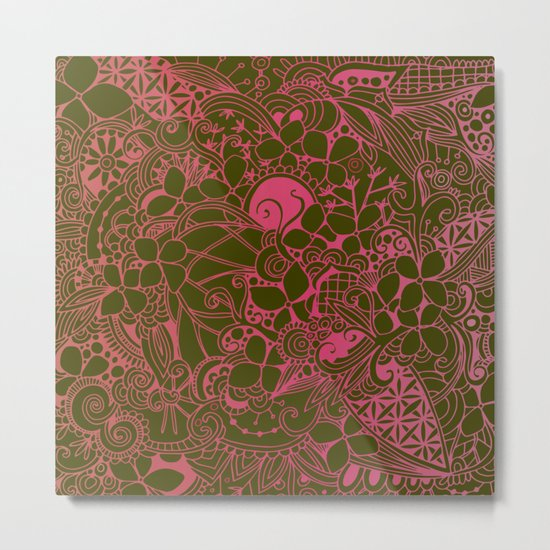 Olive square, pink floral doodle, zentangle inspired art Metal Print