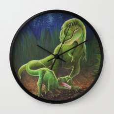 T-Rex Mother and Young Wall Clock