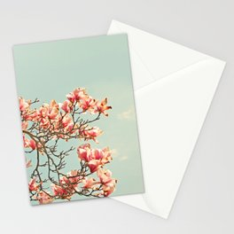 Pink Magnolia Blossoms in Spring Stationery Cards