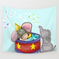 baby elephant Wall Tapestries featuring Baby Elephant  by grapeloverarts