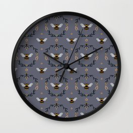Ode to the Bumblebee (in lavender) Wall Clock