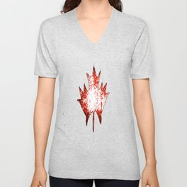 Maple leaf red white Unisex V-Neck